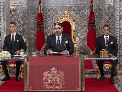 Mohamed VI, durante el discurso de su XX aniversario en el trono.