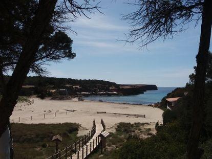 La playa de Cala Saona, en Formentera, el domingo.