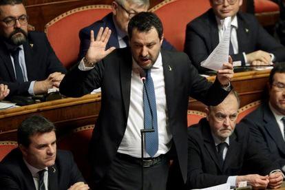 Matteo Salvini, de la Liga, en una intervención en el Senado italiano en febrero del año pasado.