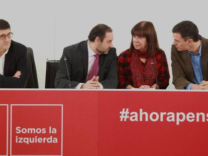 El secretario general del PSOE, Pedro Sánchez, encabeza la reunión de la Ejecutiva Federal en Ferraz.