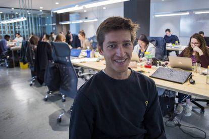 Òscar Pierre, en las oficinas de Glovo de Barcelona.