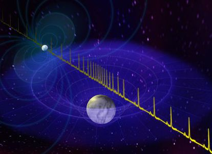 Las ondas de radio emitidas por la estrella de neutrones se comprimen gravitacionalmente al pasar cerca de la enana blanca compañera.