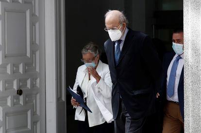 El magistrado del Tribunal Constitucional Fernando Valdés a su salida del Tribunal Supremo este jueves.