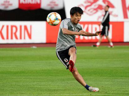 Kubo, el pasado día 9, en un partido amistoso entre las selecciones de Japón y El Salvador en la ciudad de Miyagi.