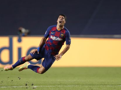 Luis Suárez, durante el partido ante el Bayern en Lisboa.