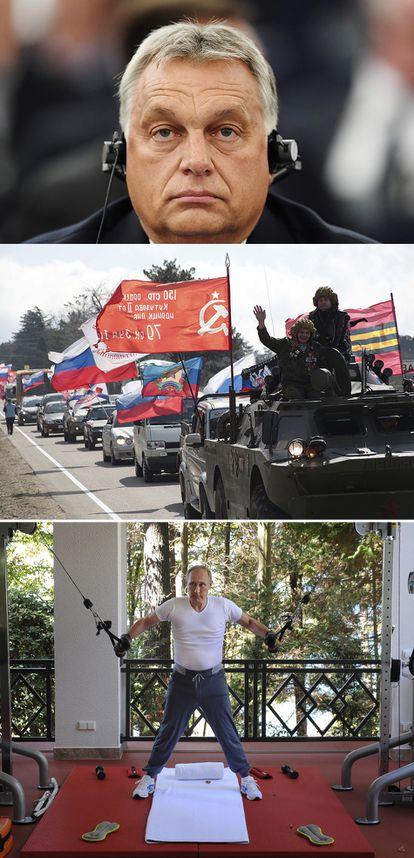El primer ministro de Hundría, Viktor Orbán, en un encuentro internacional en 2018 (arriba). Marcha de celebración por la anexión de la península de Crimea por parte de Rusia, en Sebastopol en 2019. Y el presidente de Rusia, Vladímir Putin, entrenando en su casa en 2015. <b>Pulse en la imagen para visitar la fotogalería sobre el legado de Merkel</b>.
