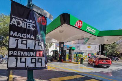 Una gasolinera de la franquicia de Pemex ofertaba la gasolina Magna en 19.19 pesos y la Premium en 19.9, a principios de febrero