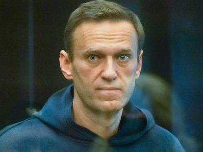 Alexéi Navalni durante la vista judicial en el Tribunal Municipal de Moscú, en febrero.