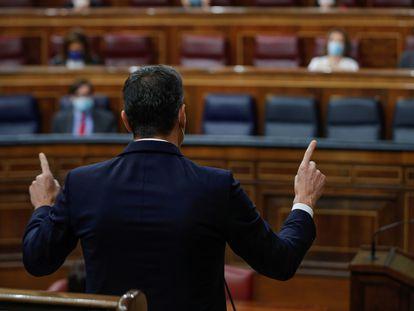El presidente del Gobierno, Pedro Sánchez, este miércoles en el Congreso.