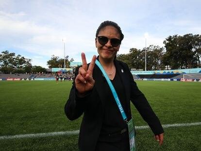 La entrenadora mexicana Mónica Vergara, durante la Copa del Mundo sub 17, en 2018.