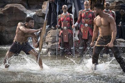 Chadwick Boseman (left) and Michael B. Jordan, in a frame from Ryan Coogler's 'Black Panther'.