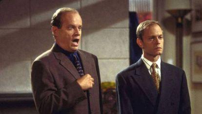 Kelsey Grammer y David Hyde Pierce, como Frasier y Niles Crane en la famosa comedia.
