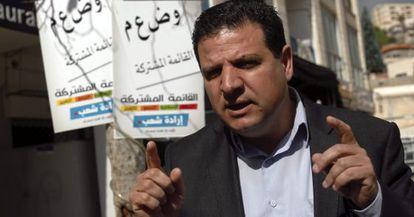 Ayman Odeh, que encabeza la Lista Conjunta, el día 2 en Nazaret.