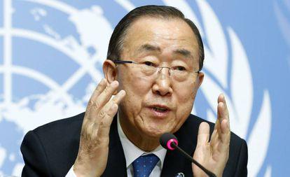 El secretario general de la ONU, Ban Ki-moon, este lunes en la sede del organismo en Ginebra (Suiza).