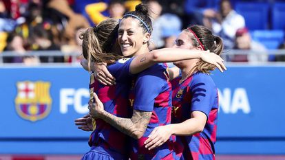 Jenni Hermoso celebra un gol del Barcelona durante la pasada temporada.