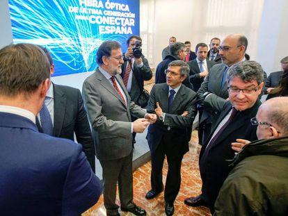 El presidente del Gobierno, Mariano Rajoy durante la presentación del nuevo Plan de Extensión de Fibra Óptica.