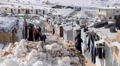 Asentamientos de refugiados de Arsal tras el paso de la tormenta Norma.