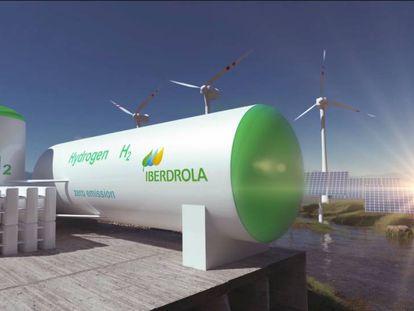Proyecto que combina hidrógeno verde con energía eólica y fotovoltaica de Iberdrola.
