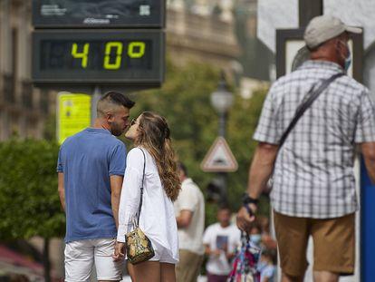 Un termómetro marca 40 grados, este miércoles en Granada.