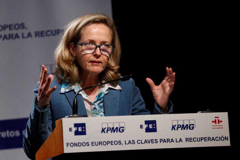 Nadia Calviño, durante su intervención este miércoles en el II Foro sobre Fondos Europeos en el Instituto Cervantes en Madrid.