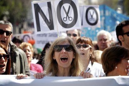 Protesta en Madrid contra los recortes en Sanidad