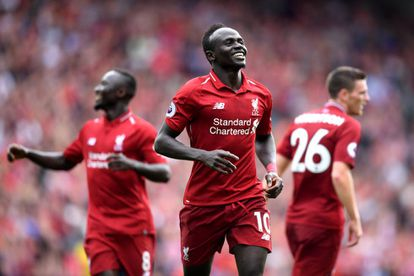 Sadio Mane celebrando un gol en Liverpool en 2018.