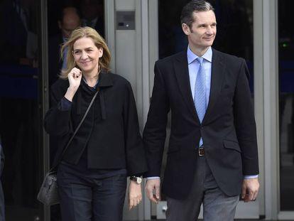 La Infanta Cristina de Borbón e Iñaki Urdangarin durante el juicio del