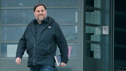 El exvicepresidente de la Generalitat Oriol Junqueras, el pasado 3 de marzo, cuando salió por primera vez de la cárcel de Lledoners.
