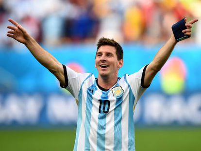 Lionel Messi celebra tras la victoria