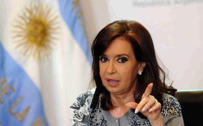 La presidenta argentina, Cristina Fernández, durante un discurso en la Casa Rosada, Buenos Aires (Argentina).