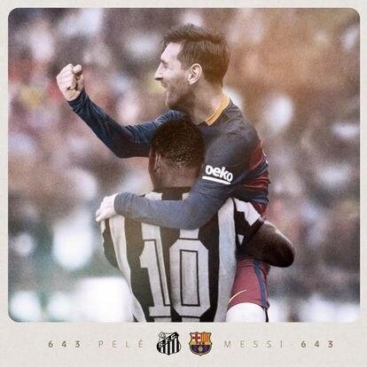 """""""Felicidades, Leo"""", fue el homenaje del Barcelona a Messi en el marcador del Camp Nou."""