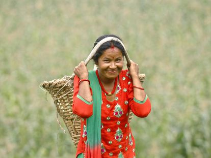 Chandra Kala Thapa, una de las pequeñas agricultoras de la aldea Ranichuri (Nepal) beneficiaria de un programa de la ONU.