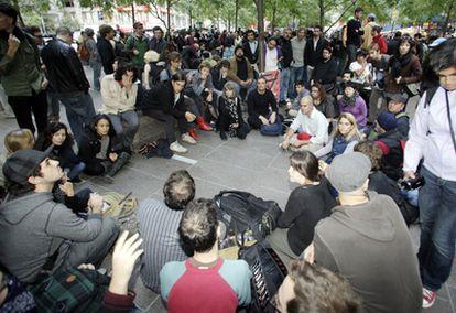 Asamblea de indignados en Wall Street.