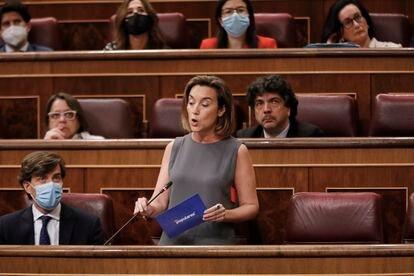 La vicesecretaria de Política Social del Partido Popular, Cuca Gamarra, interviene en la sesión plenaria celebrada en el Pleno del Congreso.
