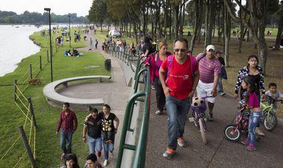 Una tarde de enero en el parque Simón Bolivar de Bogotá.