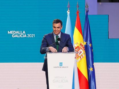 El Presidente del Gobierno, Pedro Sánchez, durante la ceremonia de entrega de la Medalla de Galicia.