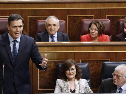 Pedro Sánchez, en la sesión de control al Gobierno, este miércoles, en el Congreso.