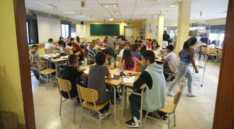 Aula de un instituto de enseñanza secundaria de Madrid, en una imagen de archivo.