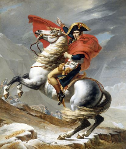Napoleon crossing the Alps, according to the vision of the artist Jacques Louis David.