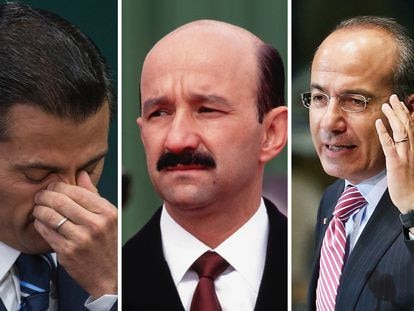 Los tres expresidentes de México señalados por Emilio Lozoya: Enrique Peña, Carlos Salinas y Felipe Calderón (de izquierda a derecha).