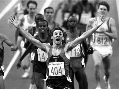 El atleta español Fermín Cacho en los Juegos Olímpicos de Barcelona en 1992.