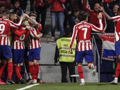 Jorge Resurreccion KOKE (Atletico de Madrid)  celebrates his goal which made it (2,1)   La Liga match between Atletico de Madrid vs Villerreal CF at the Wanda Metropolitano stadium in Madrid, Spain, February 23, 2020 .