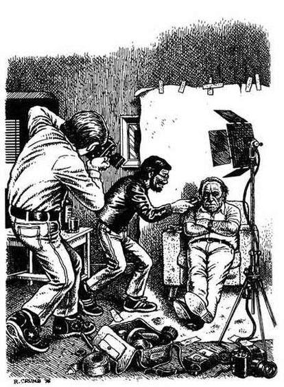 Una de las viñetas que el mítico dibujante de cómics <i>underground</i> Robert Crumb creó para ilustrar <i>El capitán salió a comer y los marineros tomaron el barco,</i> de Charles Bukowski.