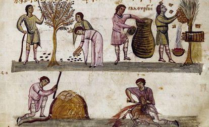 Escenas de cosecha, apicultura y caza, en un manuscrito del siglo XI de un texto de Opiano de Apamea.