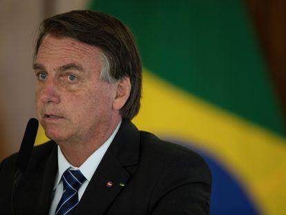 El presidente Brasil, Jair Bolsonaro, este martes en el Palacio do Planalto, en Brasilia.