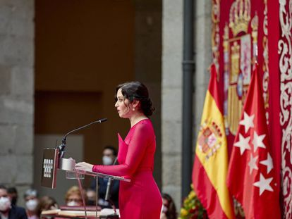 Isabel Díaz Ayuso interviene en su acto de toma de posesión.