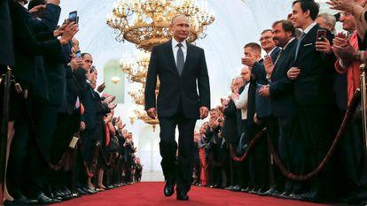 El presidente ruso, Vladímir Putin, en la toma de posesión de la presidencia, en mayo de 2018 en el Kremlin.