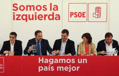 Pedro Sáncez presidiendo la reunión de la ejecutiva federal del PSOE.