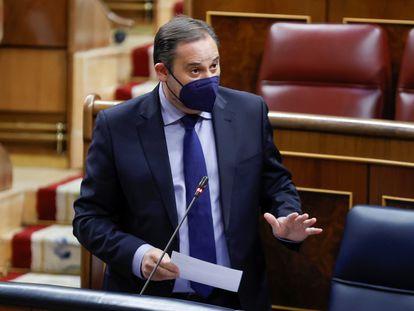 El ministro de Transportes, José Luis Ábalos, este miércoles en el Congreso.