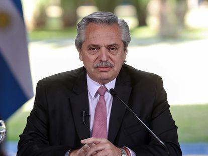 El presidente de Argentina, Alberto Fernández, anuncia la extensión de la cuarentena, el 17 de julio pasado.